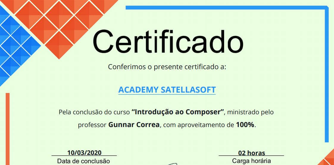 Modelo de certificado do Academy SatellaSoft