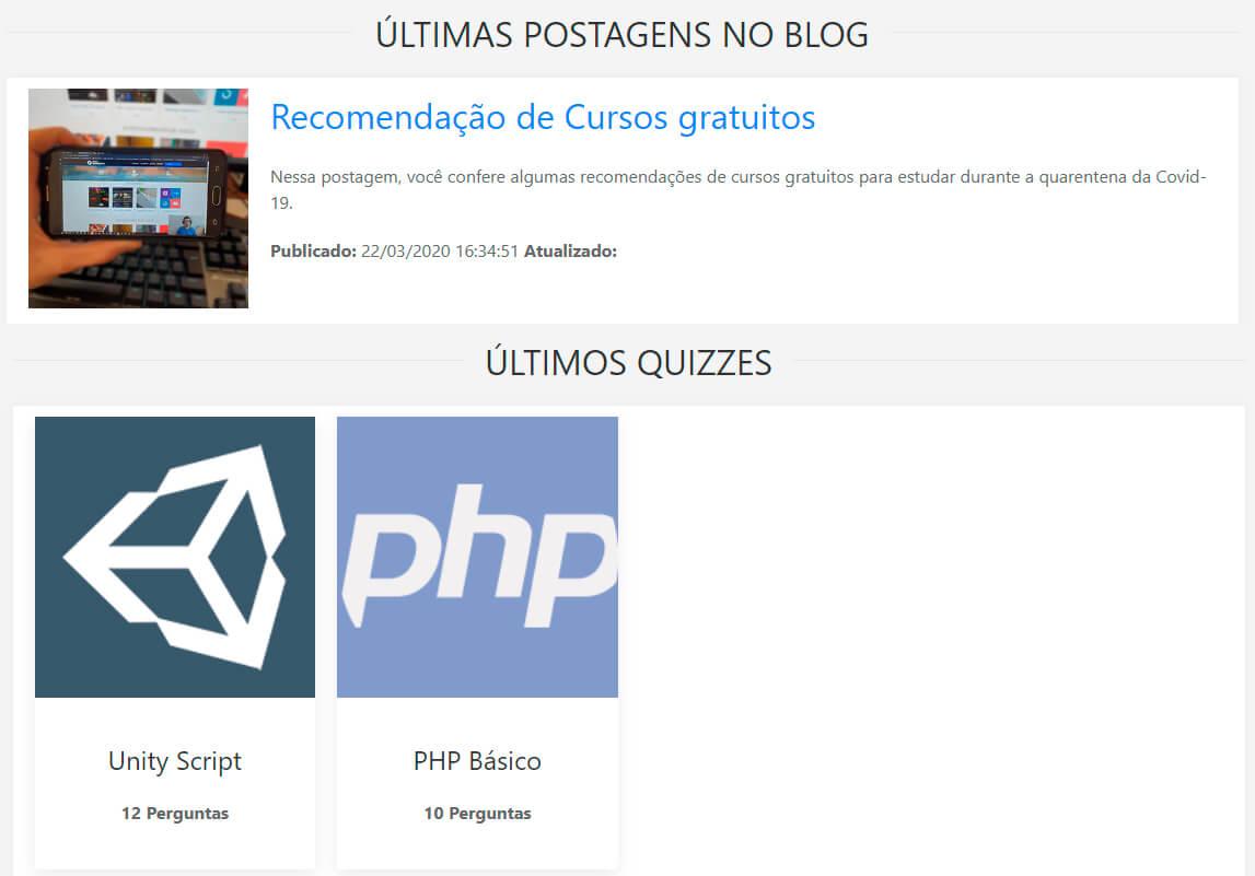 Postagens de blogs e Quizzes na home