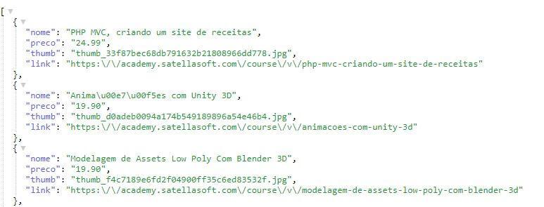 API para consulta de Cursos do Academy SatellaSoft